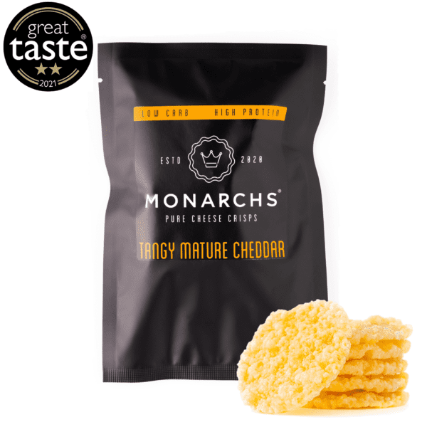 Monarchs Pure Cheese Crisps Tangy Mature Cheddar 30g with 2 stars in the great taste 2021 award